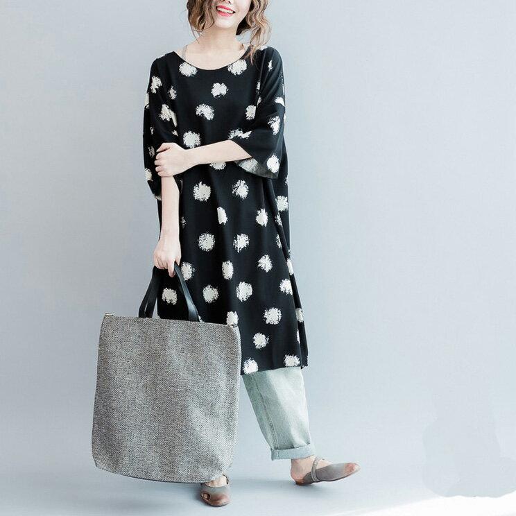 連身裙 斑駁染印撞色大圓點長版連身裙T恤 艾爾莎【TAE3579】 1