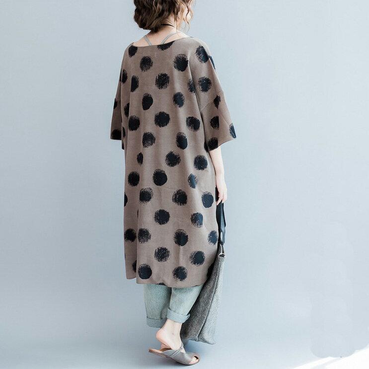 連身裙 斑駁染印撞色大圓點長版連身裙T恤 艾爾莎【TAE3579】 2
