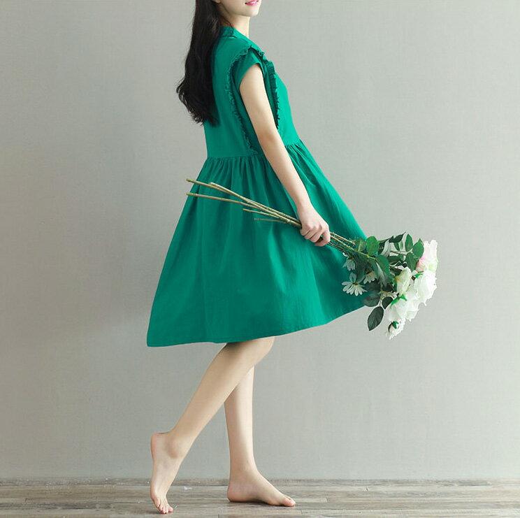 洋裝 小清新襯領寬鬆荷葉袖棉麻連身裙 艾爾莎【TAE3642】 1