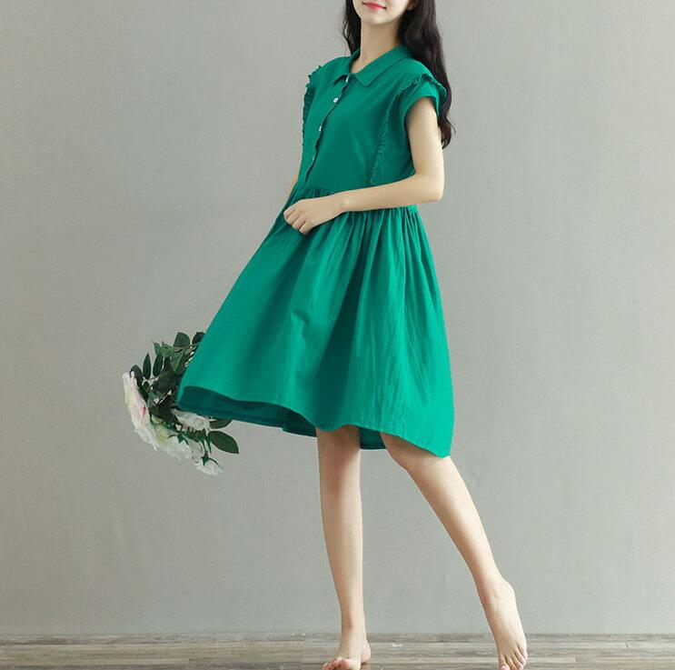 洋裝 小清新襯領寬鬆荷葉袖棉麻連身裙 艾爾莎【TAE3642】 2