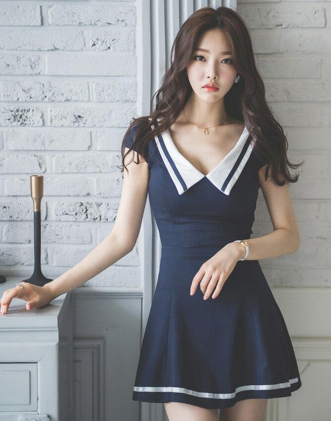 連身裙 性感V領拼色收腰顯瘦小包袖A字連身裙 艾爾莎【TAE3699】 2