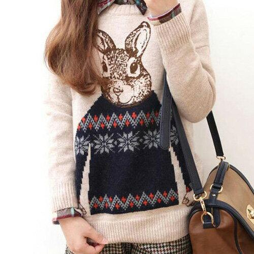 長袖針織衫 俏皮可愛兔子圓領針織上衣 艾爾莎【TAE4165】 2