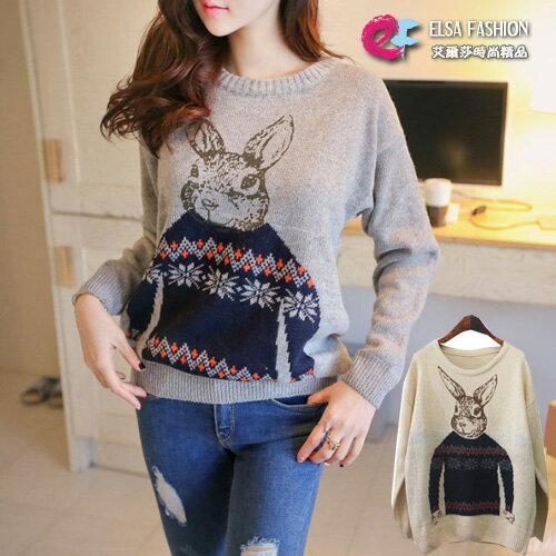 長袖針織衫 俏皮可愛兔子圓領針織上衣 艾爾莎【TAE4165】 0