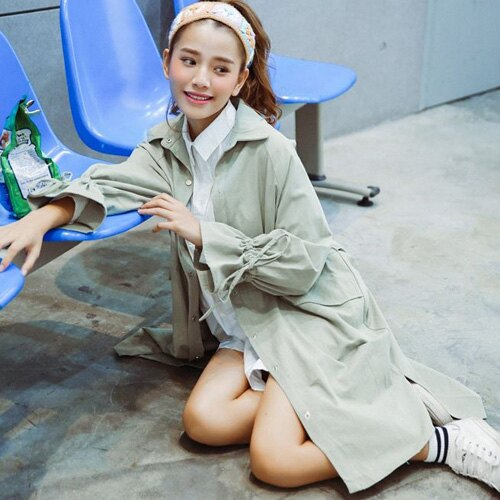 風衣 純色袖子抽繩雙口袋中長版風衣 艾爾莎【TAE4235】 1
