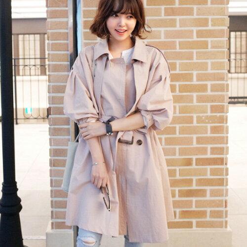 風衣 名媛氣質燈籠袖都會感寬鬆風衣外套 艾爾莎【TAE4236】 2