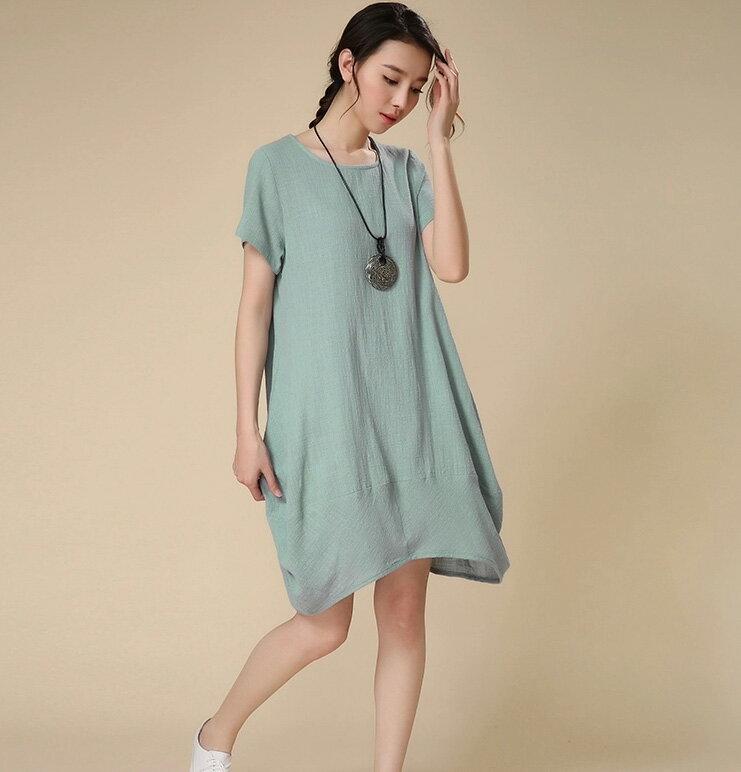 洋裝 素雅寬鬆弧狀下擺短袖連身裙 艾爾莎【TAH3285】 1