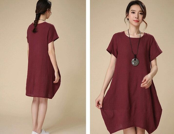 洋裝 素雅寬鬆弧狀下擺短袖連身裙 艾爾莎【TAH3285】 2