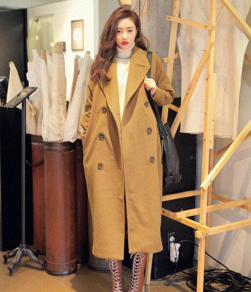 外套長大衣 大衣 秋冬經典復古長版寬鬆毛呢大衣 艾爾莎【TAK2299】 1