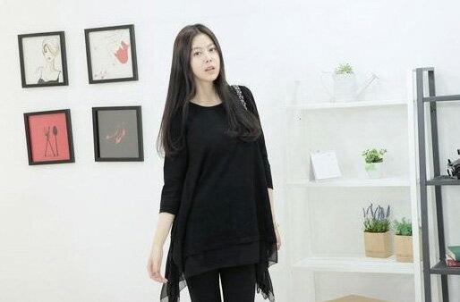 長袖上衣 寬鬆甜美漸層顯長不規則下擺長連身裙 艾爾莎【TAN5265】 2