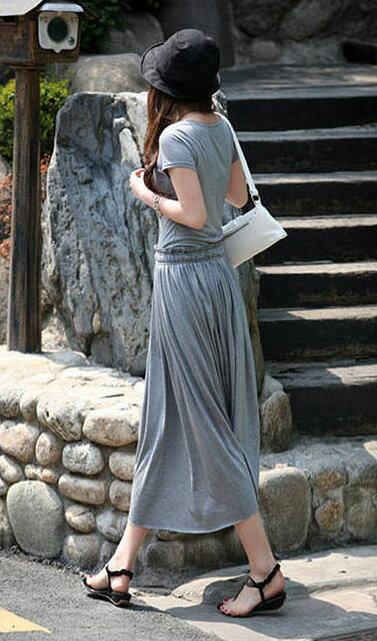洋裝長裙 艾爾莎 甜美抓皺腰綁帶短袖連身裙【TAT6761】 2