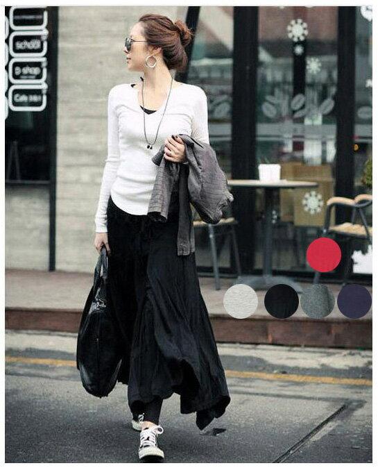 褲裙紗裙 艾爾莎 氣質韻味修身素色打摺大裙擺半身長裙【TAT6915】 1