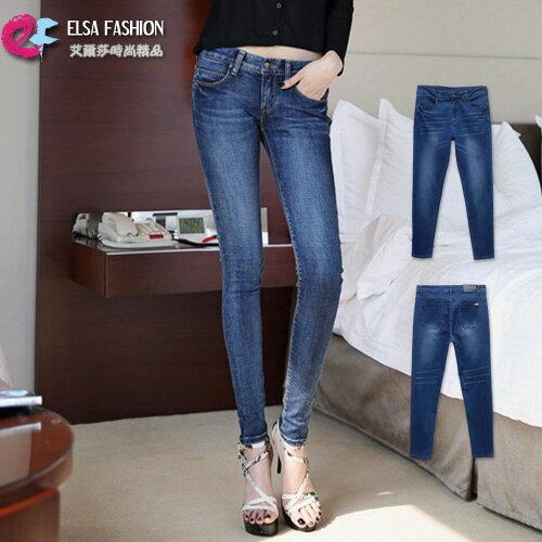 鉛筆褲窄管褲 完美曲線修身包臀顯瘦牛仔長褲 艾爾莎【TAW2023】 0