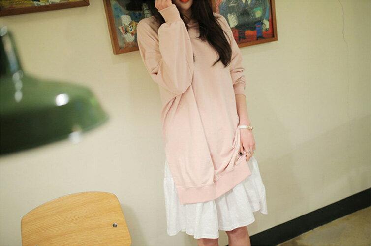洋裝 甜美寬鬆撞色拼接假兩件連身裙 艾爾莎【TGK0127】 1