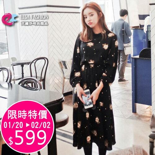 長袖洋裝 春日浪漫碎花收腰綁帶連身裙 艾爾莎【TGK2991】 0