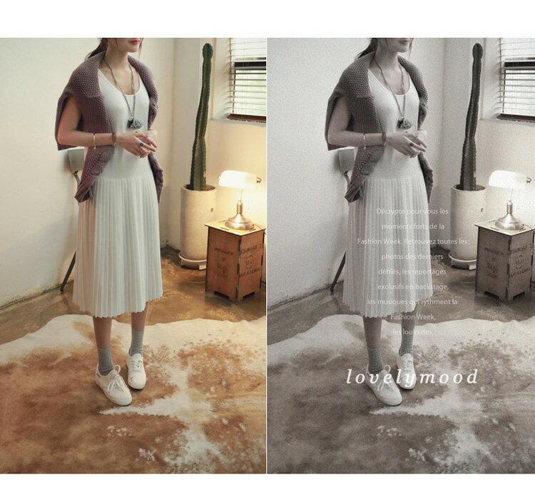 洋裝 氣質拼接百摺圓領連身背心裙 艾爾莎【TGK3100】 1