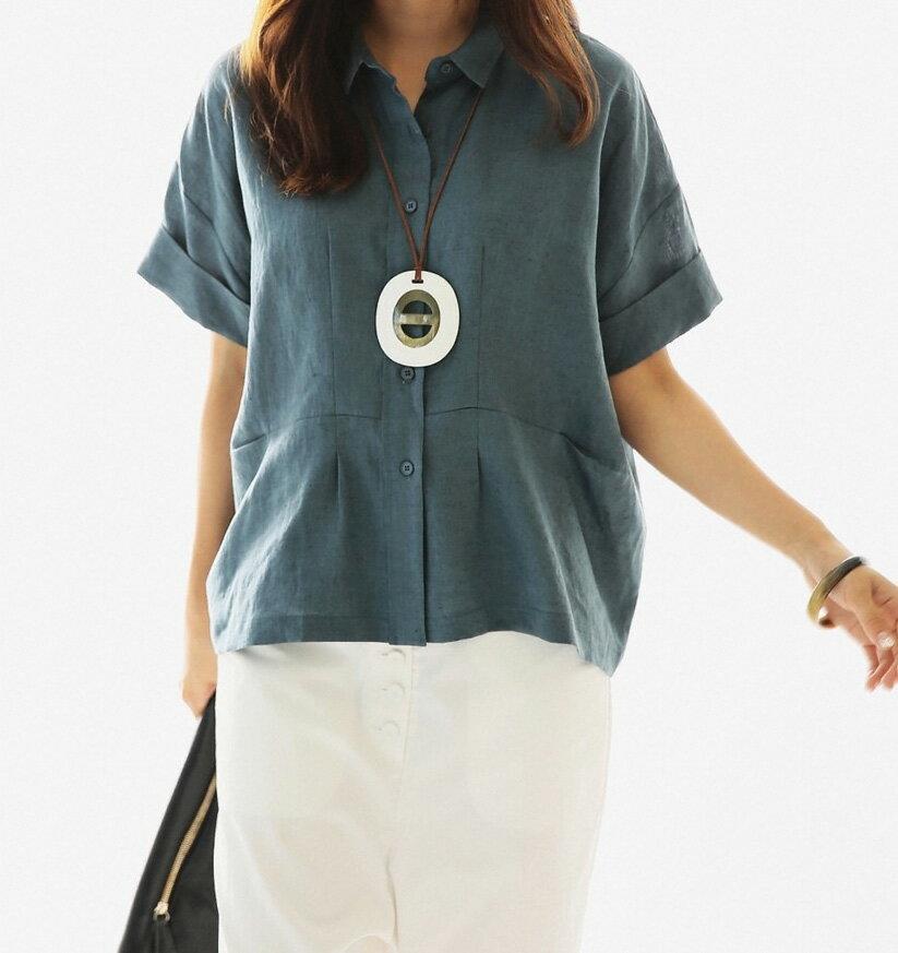 短袖棉麻衫 極簡素色寬鬆蝙蝠反摺袖亞麻短袖襯衫 艾爾莎【TGK3593】 1