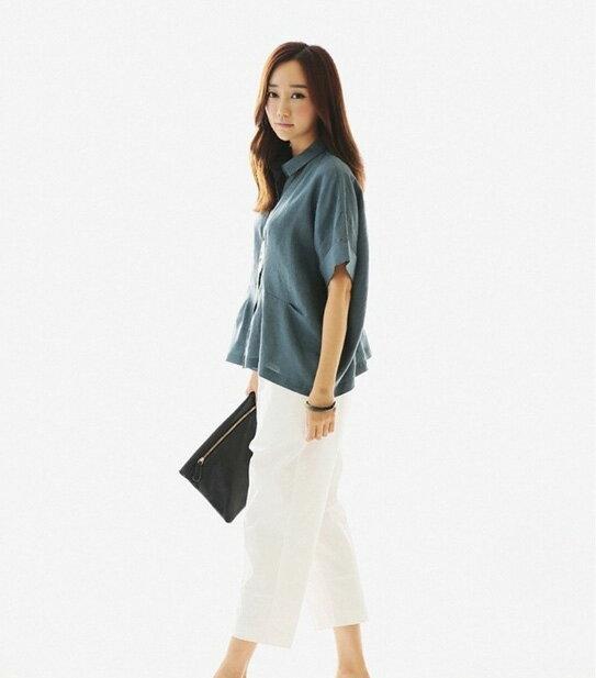 短袖棉麻衫 極簡素色寬鬆蝙蝠反摺袖亞麻短袖襯衫 艾爾莎【TGK3593】 2