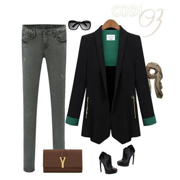 西裝外套 撞色反摺袖修身顯瘦一粒釦西裝外套 艾爾莎【TGK4010】 2