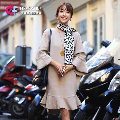 長袖洋裝 艾爾莎 寬鬆魚尾荷葉邊喇叭長袖連身裙【TGK4076】 0