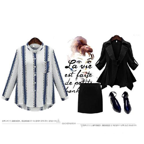 長袖襯衫 艾爾莎 歐美簡約配色條紋印花立領口袋襯衫【TGK4123】 1