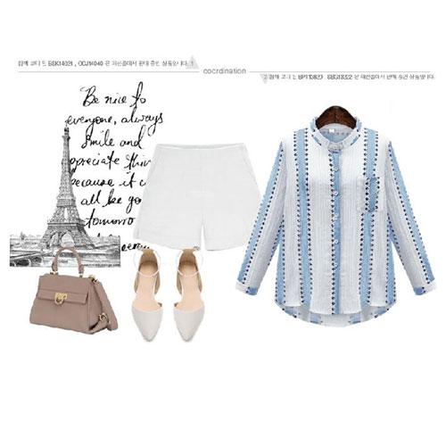 長袖襯衫 艾爾莎 歐美簡約配色條紋印花立領口袋襯衫【TGK4123】 2