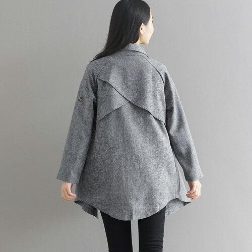 風衣 簡約帥氣素色翻領中長版風衣外套 艾爾莎【TGK4199】 2