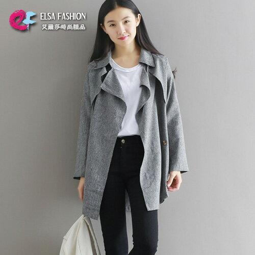 風衣 簡約帥氣素色翻領中長版風衣外套 艾爾莎【TGK4199】 0