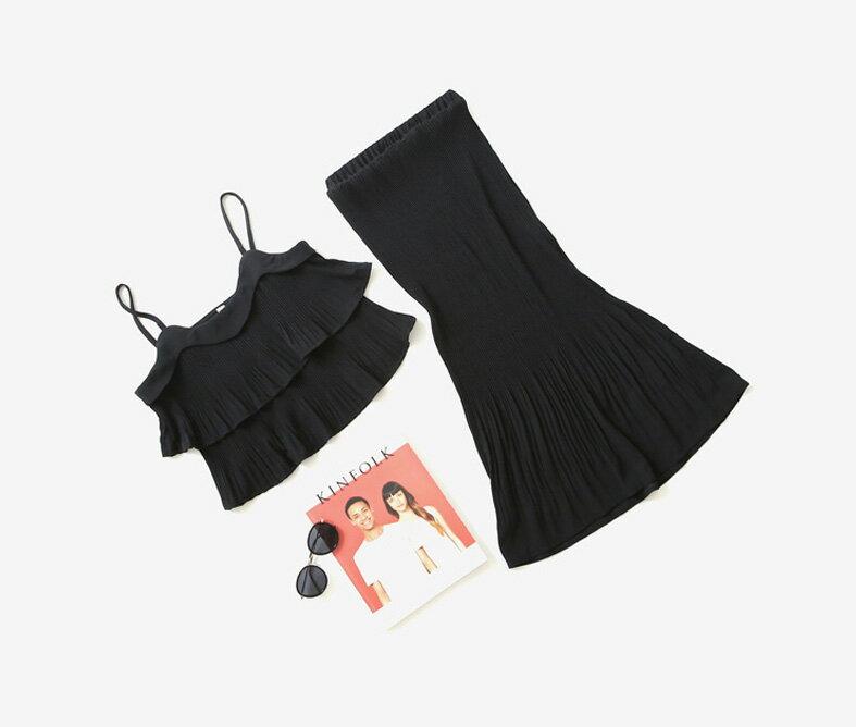 無袖裙裝 高雅雙層細肩帶短版上衣+百褶壓印包臀半身裙套裝 艾爾莎【THB3894】 2