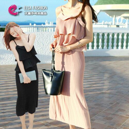 無袖裙裝 高雅雙層細肩帶短版上衣+百褶壓印包臀半身裙套裝 艾爾莎【THB3894】 0
