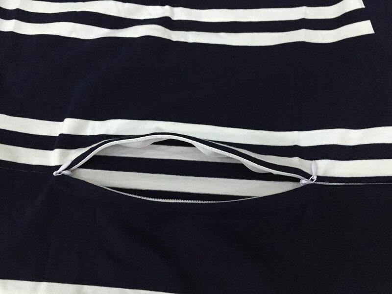 洋裝 艾爾莎 經典寬鬆條紋下擺小開叉五分袖連身裙【TQT0037】 2