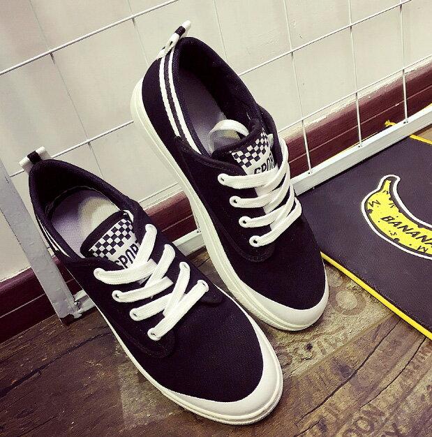 帆布鞋休閒鞋平底鞋 休閒配色帆布白色平底鞋 艾爾莎【TSB8613】 1