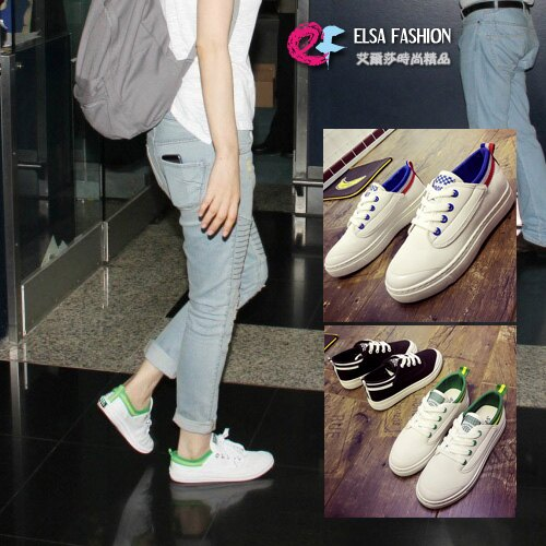 帆布鞋休閒鞋平底鞋 休閒配色帆布白色平底鞋 艾爾莎【TSB8613】 0