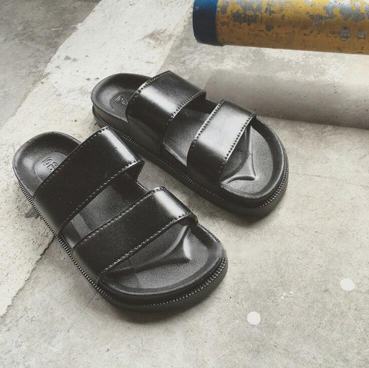圓頭涼拖鞋 百搭防滑雙帶厚底黑色涼拖鞋 艾爾莎【TSB8632】 1