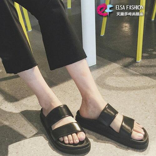 圓頭涼拖鞋 百搭防滑雙帶厚底黑色涼拖鞋 艾爾莎【TSB8632】 0