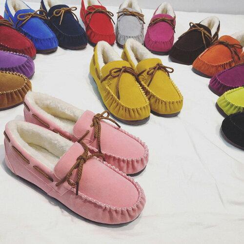 豆豆鞋 純色加絨毛保暖平底豆豆懶人鞋 艾爾莎【TSB8671】 1