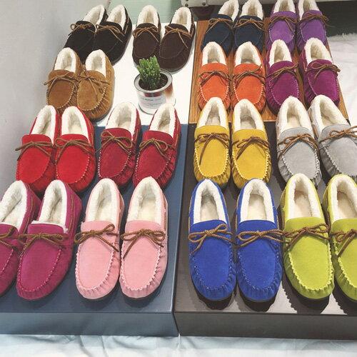 豆豆鞋 純色加絨毛保暖平底豆豆懶人鞋 艾爾莎【TSB8671】 2