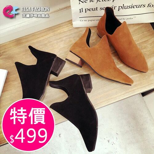 靴子 歐美風格時尚潮流鏤空尖頭美靴 艾爾莎【TSB8673】 0