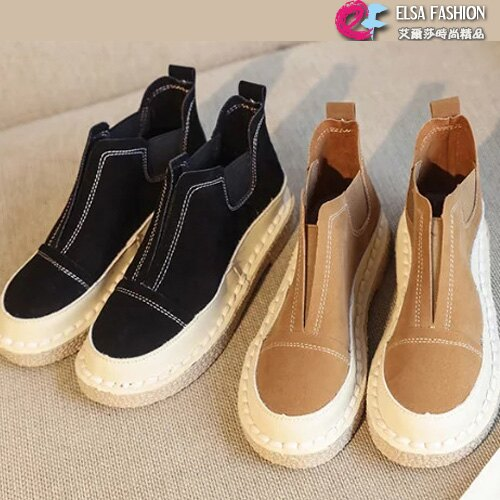 踝靴 舒適軟底英倫風格百搭復古美靴 艾爾莎【TSB8678】 0