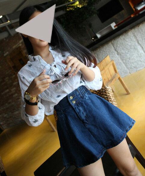 牛仔裙*艾爾莎*高腰顯瘦鬆緊腰牛仔裙傘裙【TAF9348】 2