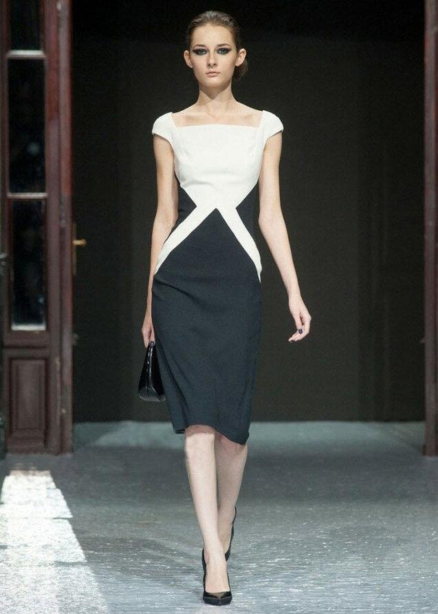 品牌服飾*艾爾莎*時尚優雅簡約黑白拼色連身裙S~XL【TAT7349】 1