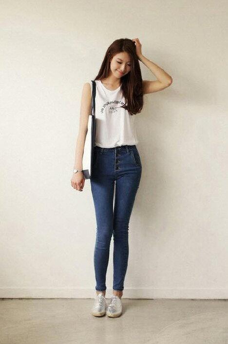 牛仔褲*艾爾莎*高腰修身美腿牛仔小腳鉛筆長褲窄管褲26~31【TAT7351】 1