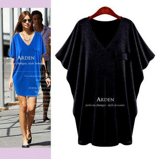 大尺碼裙子*艾爾莎*純色深V領寬鬆大蝙蝠袖連身裙L~XXXL【TAW2005】 1