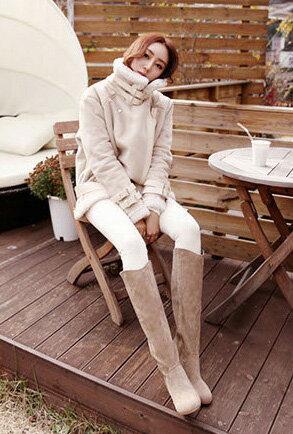 夾克長大衣皮衣*艾爾莎*兩穿立領翻領保暖羊羔毛內裡麂皮絨外套S~XXL【THH00007】 1