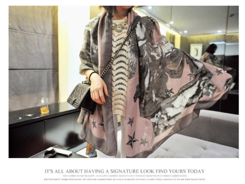 圍巾披肩方巾頭巾*艾爾莎*歐美風時尚斜紋五角大廈印花披肩絲巾圍巾【TOY2171】 1