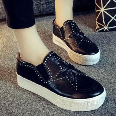 懶人鞋 明星同款星星鉚釘皮革厚底鞋【S1630】☆雙兒網☆ 3