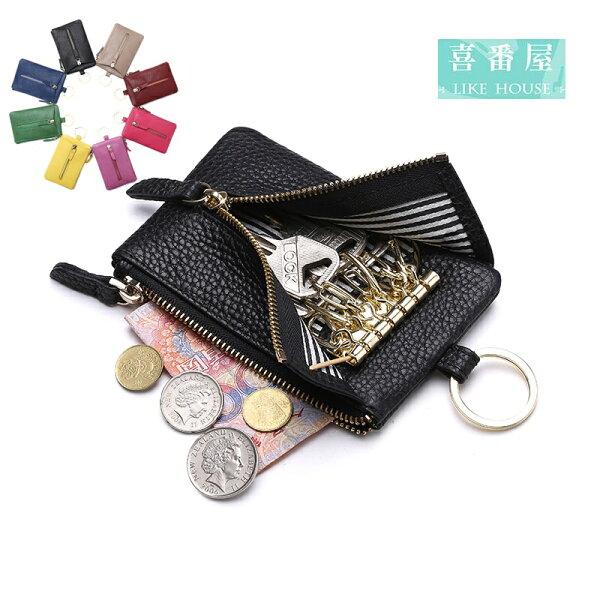【喜番屋】日韓版真皮牛皮男女通用腰掛6鑰匙位鑰匙包鑰匙圈鑰匙套零錢包卡片包卡夾卡包卡套男夾女夾KB34