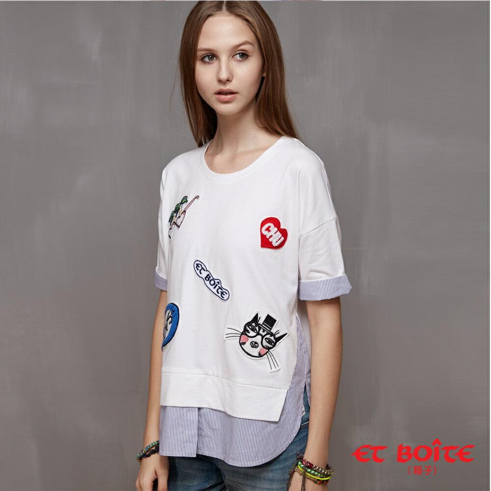 【ET BOiTE 箱子】童趣風格拼貼T恤(白) - 限時優惠好康折扣