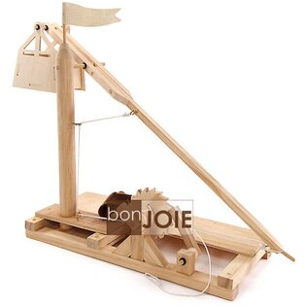 ::bonJOIE:: 美國進口 Leonardo Da Vinci 達文西 木製投石機 組合模型玩具 (全新盒裝) Wooden Invention Kits Trebuchet