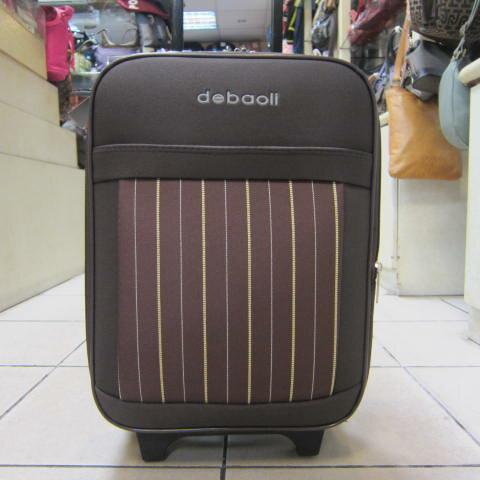 ~雪黛屋~DEBAOLI 16吋 登機行李箱可加大容量單向雙併輪附鎖設計超輕防水硬式邊殼輕巧平穩 #4074 條紋咖