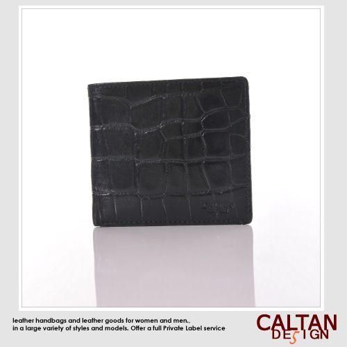短夾-【CALTAN】都會型男隨身短皮夾-黑色鱷魚壓紋*1791